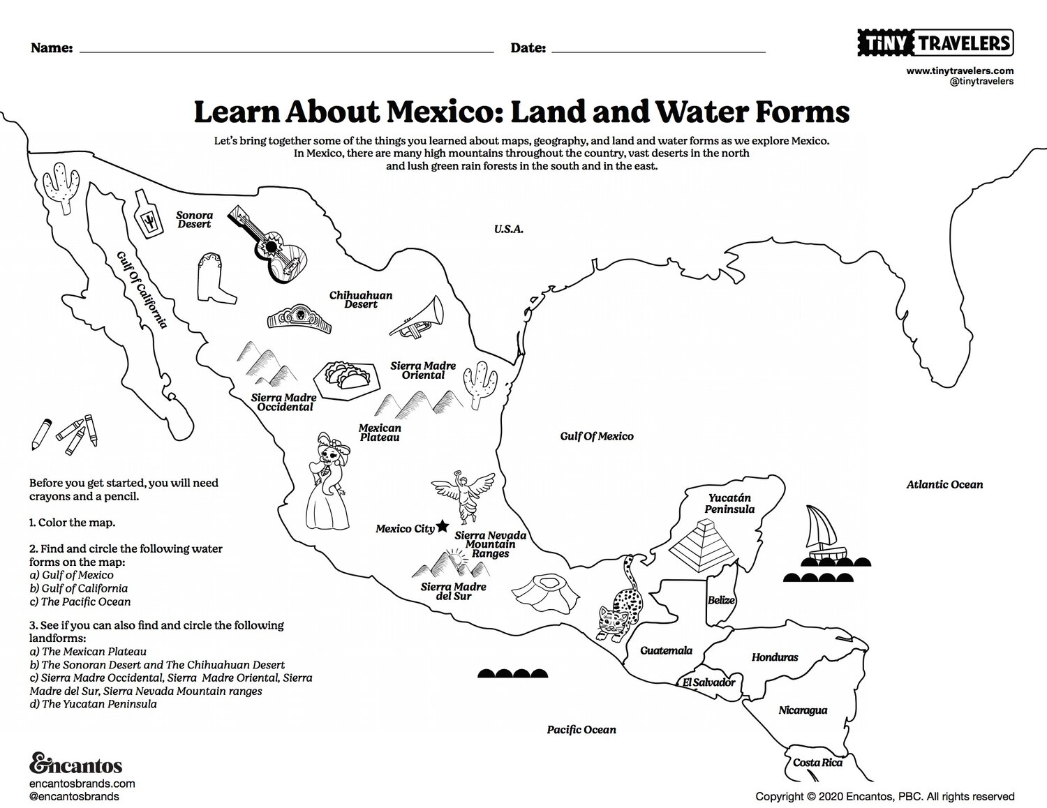 Picture of: Learn About Mexico Land And Water Forms Intro To Spanish Tiny Travelers